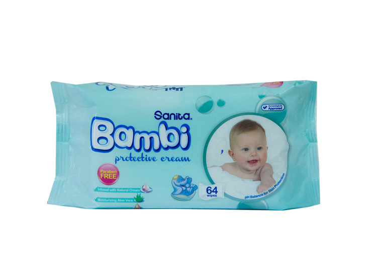 Bambi Baby Wipes With Protective Cream